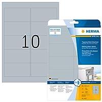 HERMA 4223 96x50.8mm Laser Film Rectangular Heavy Duty Labels - Matte Silver (250 Labels, 10 per Sheet)