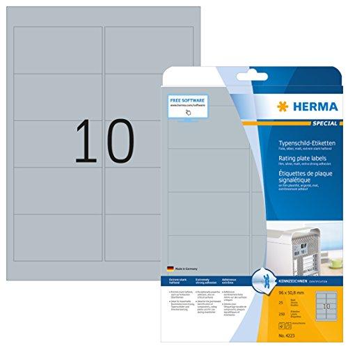 HERMA 4223 Typenschild Folien-Etiketten DIN A4 (96 x 50,8 mm, 25 Blatt, Polyesterfolie, matt) selbstklebend, bedruckbar, extrem stark haftende Klebefolie, 250 Klebeetiketten, silber
