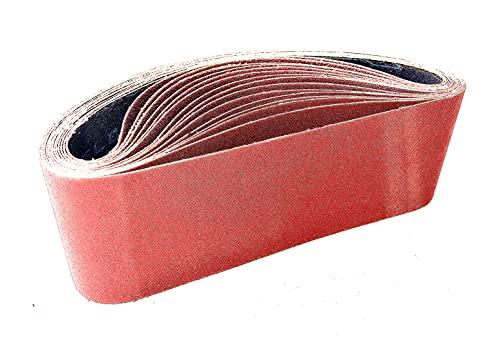 Bandas de Lija 75 x 533 mm(15 piezas), Banda Abrasiva 3 x grano 80/120/150/240/400 para Lijadora de Banda para Pulir...