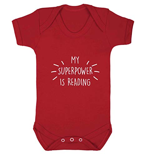 Flox Creative Gilet pour bébé My Superpower is Reading - Rouge - M