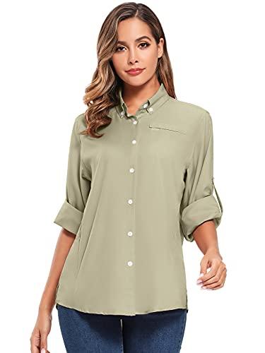 Women's Quick Dry Sun UV Protection Convertible Long Sleeve Shirts for Hiking Camping Fishing Sailing (5024 Dark Khaki XL)