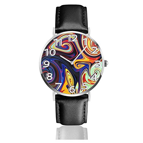 Reloj de Pulsera Artístico Abstracto Mármol Flores Durable PU Correa de Cuero Relojes de Negocios de Cuarzo Reloj de Pulsera Informal Unisex