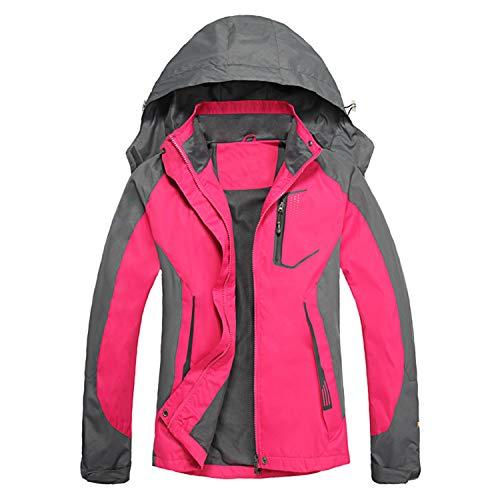 LHHMZ Damen Wanderjacke, winddicht, leicht, atmungsaktiv, wasserdicht, Outdoor-Softshell-Jacke mit Kapuze
