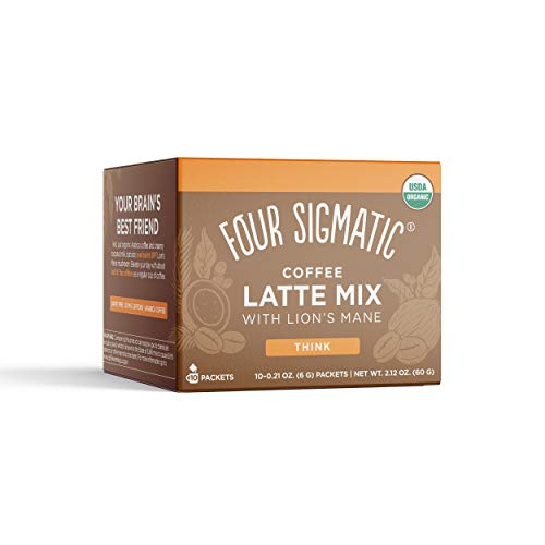 Four Sigmatic Mushroom Coffee Latte, Organic Instant Coffee Latte Mix with Lion's Mane, Chaga Mushrooms & Coconut Milk Powder, Immune & Energy Support, Keto, 10 Count