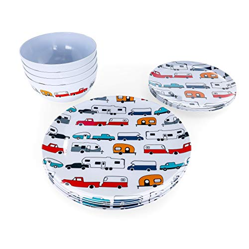 Product Image 2: Camco Life is Better at The Campsite 12 Piece Dishware Set-Multicolor Retro RV and Trailer Print, Includes Plates and Bowls, Perfect for RVing and Camping, Melamine (53297)