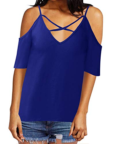 Style Dome Maglietta Donna Corte Estive Camicetta Spalle Scoperte Magliette Eleganti Bluse Casual Tops Tinta Unita T Shirts 565126-blu 44