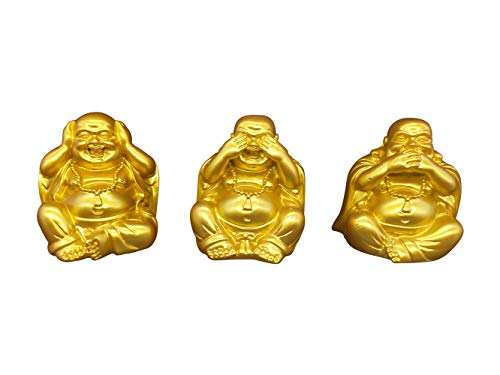 2.7'' Golden Buddha Figurine Hear See Speak No Evil Happy Face Laughing Buddha Statues Home Decoration Office Meditation Room Birthday Gift Resin Buddhas Set of 3