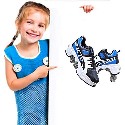 Multifuncionales Patines sobre Ruedas Zapatos De Deformación En Quad Patinaje Al Aire Libre Calzado Caminar para Adultos Niños Unisex,35