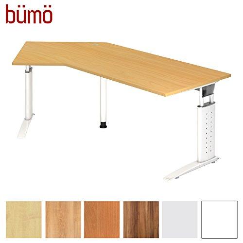 bümö® Schreibtisch höhenverstellbar 68-86 cm | Bürotisch mit exklusivem Gestell in weiß | Büroschreibtisch | Tisch für's Büro & PC in Top Qualität Winkelschreibtisch: 210 x 113 cm