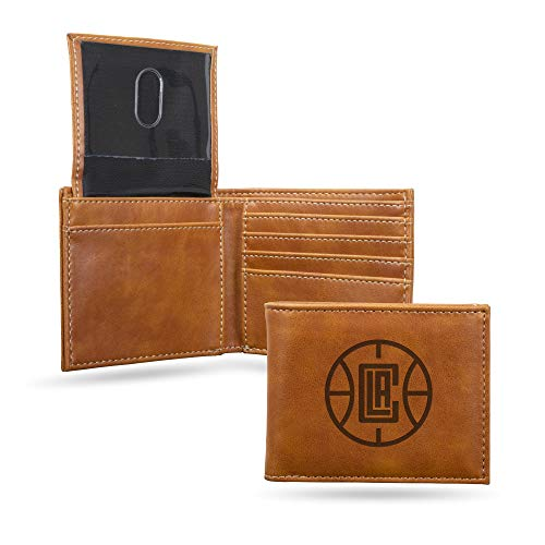 Rico Industries NBA Los Angeles Clippers Laser Engraved Billfold Wallet, Brown