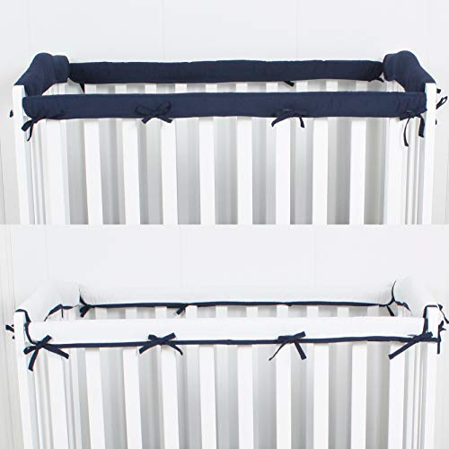 CaSaJa 4-Piece Mini Crib Rail Cover Set for Entire Mini Crib Rails 24in x 38in, Safe Breathable Padded Batting Inner for Baby Teething Guard, Soft Reversible Mini Crib Rail Protector Wraps, Navy