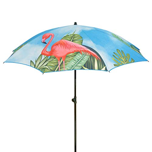 National Outdoor Living and Pink Flamingos Beach Umbrella, 6.5 Ft.