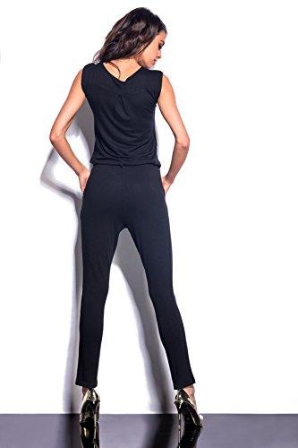 Lemoniade eleganter Jumpsuit ohne Ärmel mit verführerischem V-Ausschnitt in Wickeloptik, schwarz - 3