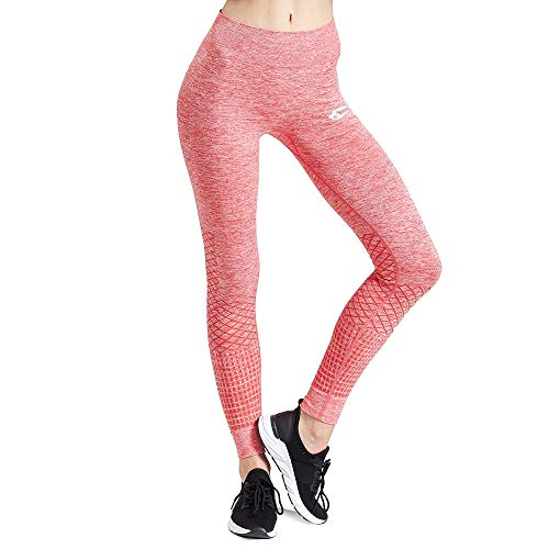 SMILODOX Sport Leggings Damen \'Meditation\' | Seamless - Figurformende Tight für Sport Fitness Gym Yoga Training | Sporthose - Workout Trainingshose - Tights Laufhose, Farbe:Rot, Größe:XS