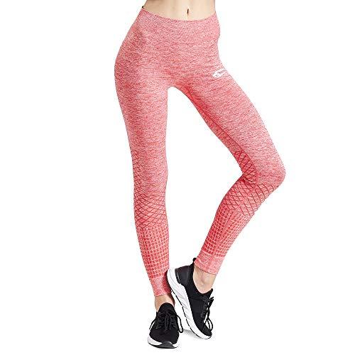 SMILODOX Sport Leggings Damen 'Meditation' | Seamless - Figurformende Tight für Sport Fitness Gym Yoga Training | Sporthose - Workout Trainingshose - Tights Laufhose, Farbe:Rot, Größe:XS