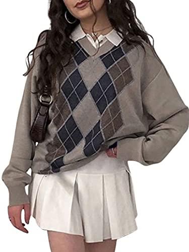 Women/Girl 's Check Knit Sweater Cardigans Knitwear Y2K Long Sleeve Vintage Cropped Top 90s Cute Streetwear (Brown, Large)