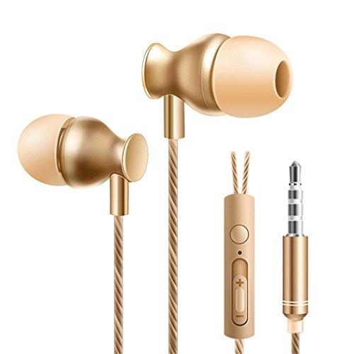 Active geräuschunterdrückende, 3,5 mm In Ear Stereo Kopfhörer und eingebautem Mikrofon (Rauschunterdrückung, Aluminiumlegierung, vergoldeter Stecker) (Gold)