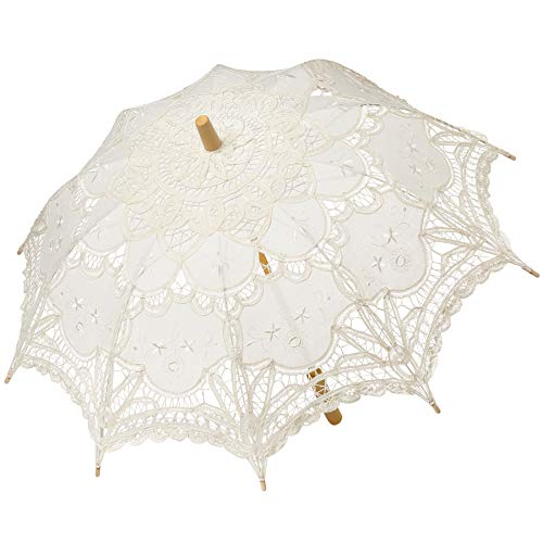BABEYOND Lace Umbrella Parasol Vintage Wedding Bridal Umbrella for Decoration Photo Lady Costume 1920s Party (Apricot)