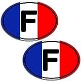 Biomar Labs® 2 x Adesivi Vinile Ovale Bandiera Nazionale della Francia France per Auto Moto Finestrìno Scooter Bici Motociclo Tuning B 195