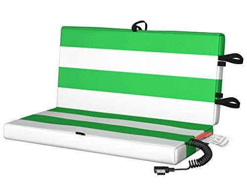 Beheizbares Sitzkissen | Heizkissen Akku für Outdoor Aktivitäten, Balkon, Parkbank & Camping | Sitz-Heizung, Wärme-Kissen elektrisch & kabellos | Mit USB-Anschluss | Grün/Weiß | 35x35x3,5 cm