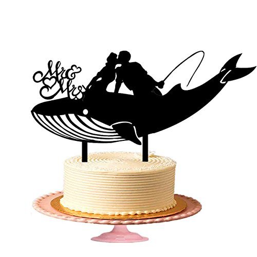 Beautiful Mr & Mrs Wedding Cake Toppers, Kissing Couple Sit On A Big Whale Fish Black