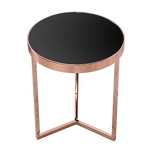 Invicta Interior Design Beistelltisch Original Astro 50 cm Kupfer schwarz Glastisch Tisch mit Glasplatte