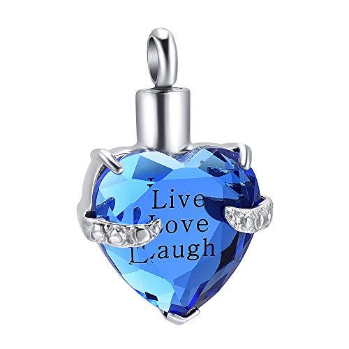 QQAQQ Colgantes para Cenizas Live Love Laugh Collar De Urna De Recuerdo De Corazón Grabado Joyas De Cremación para Cenizas Colgante Collar De Corazón-Plata Y Azul_Embudo De La Caja del Collar