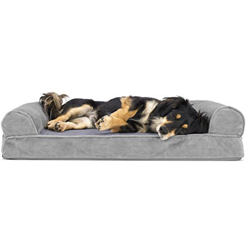FurHaven Pet Dog Bed | Orthopedic Faux Fleece & Chenille Sofa-Style Couch Pet Bed for Dogs & Cats, Smoke Gray, Medium