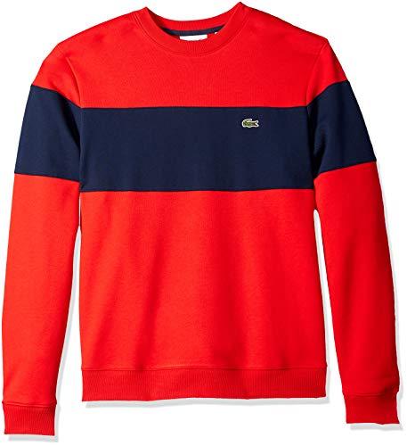 Lacoste Herren-Sweatshirt mit Rundhalsausschnitt, Colorblock - Rot - XX-Large