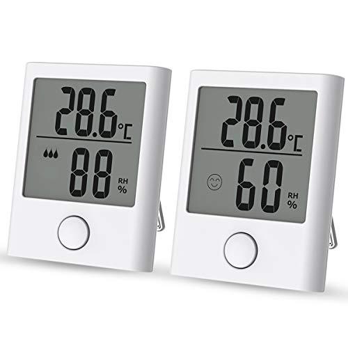 IREGRO Mini Thermo Hygrometer Innen, 2 Stück Digital Thermometer Hygrometer, Temperatur und Luftfeuchtigkeitmessgerät mit Komfortanzeige für Babyraum, Wohnzimmer, Büro, usw