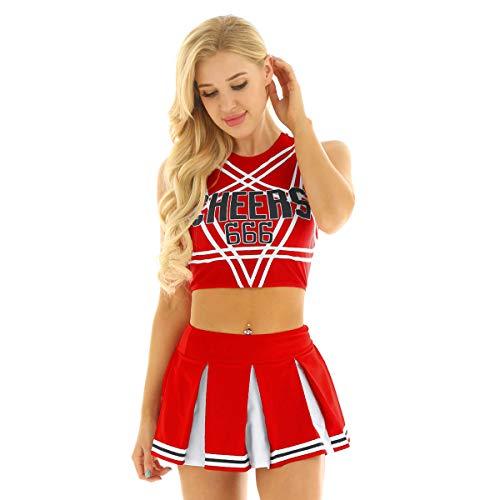 Freebily Uniforme da Cheer-Leader Costume Carnevale Ragazza Travestimenti Halloween Festa Fancy Dress per Scuola Superiore Crop Top Incrociata Schiena Mini Gonna a Pieghe Rosso A S