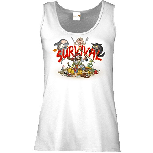 getshirts - Gronkh Official Merchandising - Tank Top Damen - Survival - Weiss XXL