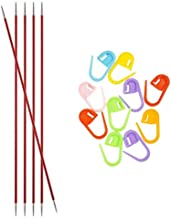 Knitter's Pride Knitting Needles Zing DPN Double Pointed 6 inch Size US 1.5 (2.5mm) Bundle with 10 Artsiga Crafts Stitch Markers 140003