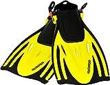 AQUAZON Barracuda Pinne da Bambino, Pinne da Sub Regolabili, Ideali per Lo Snorkeling, Le Immersioni o Come Pinne da Nuoto o Snorkeling, Colour:Yellow, Size:32/37