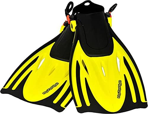 aquazon Alicante Verstellbare Flossen, Schnorchelflossen, Taucherflossen, Schwimmflossen für Kinder und Erwachsene zum Schnorcheln, Schwimmen, Farbe:Yellow, Größe:27/31