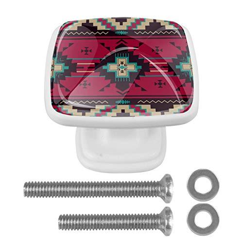 Confezione da 4 pomelli quadrati bianchi per armadietti da cucina, per camera da letto, armadio e cassettiere, motivo etnico azteco