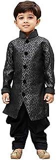 JBN Creation Boys Silk Cotton Sherwani Suit With Patiala Style Cowl Dhoti Pant (Grey_VASBSW122)