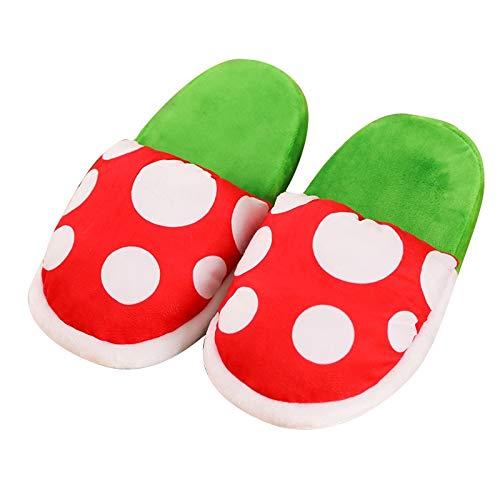 XINFAN Sonic Peluche Zapatillas Super Mario Bros Zapatillas Piranha Decoración Flor Cosplay Zapatos Otoño Y Invierno Zapatillas De Felpa Mayor