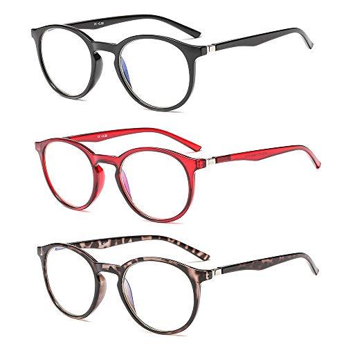 Suertree Anti Blue Lesebrille 3 Pack Computer Brille Herren Damen Anti Rays Lesebrillen für Frauen Männer Fashion Leser 1.0X JH252