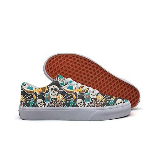Charmarm Pirate Skulls Anchor Graphic Print Women Cute Low Top Canvas Slip-ons Shoes