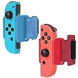 2 Pack Bracelet pour Just Dance 2021 2020 Nintendo Switch et Zumba Burn It Up Switch, FYOUNG Sangles de Poignet élastiques Réglables pour Nintendo JoyCon - Rouge et Bleu
