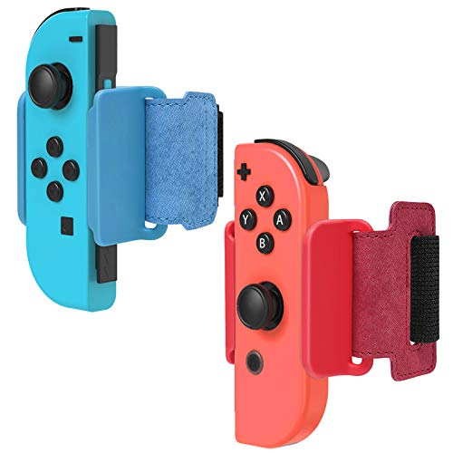 FYOUNG Armband für Just Dance 2021/2020/2019, Verstellbare Dand Band Set für Nintendo Switch Controller Game und Joy-Cons - Rot/Blau (2 Pack)