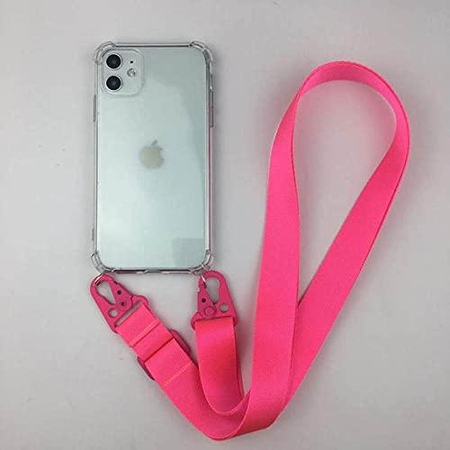 Estuche para teléfono celular con collar de cadena y correa de perlas transparente de lujo para iPhone 11 pro 7 8 6s 6P XR XS Max Funda suave con correa de metal, cuello rosa rojo, para iphone 6 6s