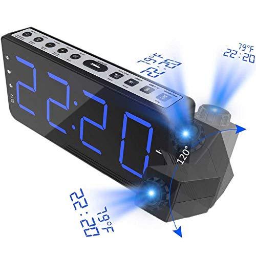 WMC Projektion FM Radiowecker, Mit Time Projection Temperatur Elektronischer Tisch Uhr Nacht Schreibtisch Projektor-Uhr Nixie Digital Clock