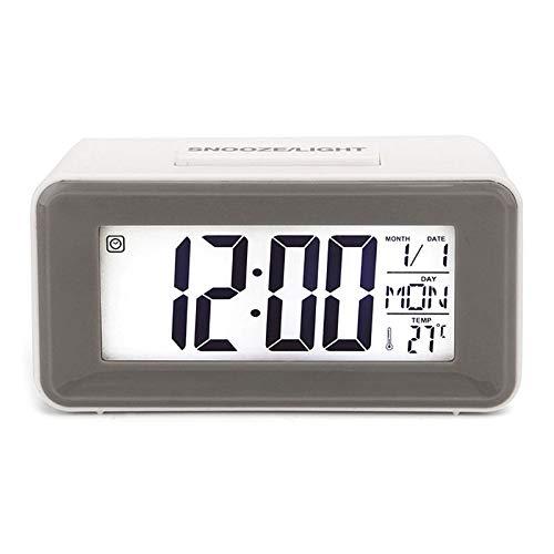 Aobay Relojes de Alarma de LED Digitales Relojes de Estudiante con Semana Snooze Thermometer Watch Electronic Table Calendar LCD Escritorio Temporizador (Color : Blanco)