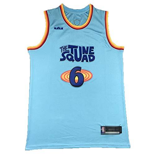 Camiseta de baloncesto sin mangas para hombre, camiseta de baloncesto Lebron Space Jam King James #6 jugador de baloncesto uniforme de secado rápido transpirable sudadera