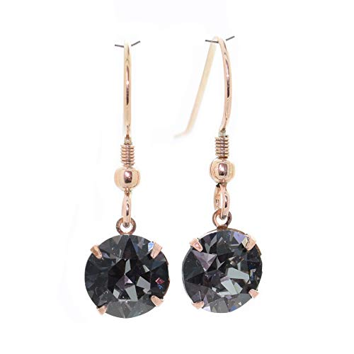 pewterhooter 14K Rose gold-plated Sterling Silver drop earrings for women made with Black Diamond crystal from Swarovski. Gift box. Made in the UK. Hypoallergenic & Nickle Free for Sensitive Ears.