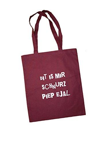 Jutebeutel Bedruckt mit Berliner Spruch schnurz - / Stoffbeutel/Jute Beutel/Einkaufsbeutel Baumwolle mit Sprüchen von Spree Klamotte Berlin - Statement Sprüche Tasche - Plum