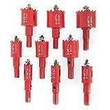 MYGIIKAKA 9 pezzi Set sega a tazza, M42 Bi-Metal Hole Cutter w/ Center Metal Drill Bits, 16-38mm apertura foro bimetallico per metallo plastica taglio del ferro, rosso