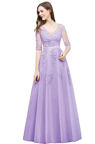 Babyonlinedress® Elegant Lang Spitze Tüll Rückenfrei Abendkleid Ballkleid Hochzeit Brautjungfernkleid mit Aplikation Flieder 44